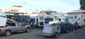 The little guy brings up the rear at the Coho Ferry terminal