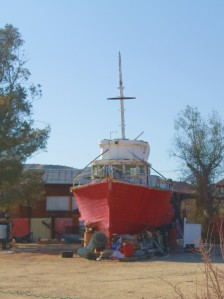 What the? How'd a fishing boat end up in the middle of the desert?