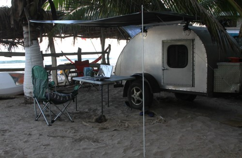 My beloved teardrop on the beach in Mexico last year