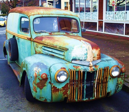 Original paint This one is actually older than I am. note the bullet hole above the driver's window.