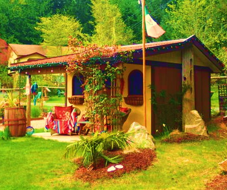 "A backyard cabin on Vancouver Island. Someone's fascination with Mexico is clear. Note the guitar and the piñata on the porch. ""Hola senorita! Donde mi margarita?"