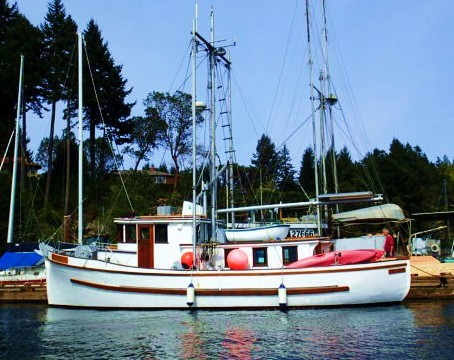 "Elegance. ""If it looks good, it works good.""... Allen Farrell A beautiful yacht conversion of a wooden salmon. fishing boat."