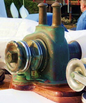 That's a lot of bronze!A Stephens electric windlass, now a rare find.
