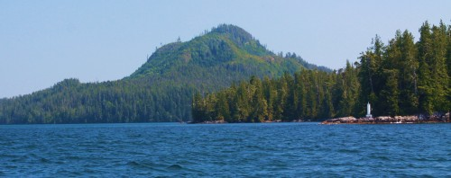 The Idol Point Light with Mount Gowlland in the background. (The logged-off hill looks like and elephant's head to me!)