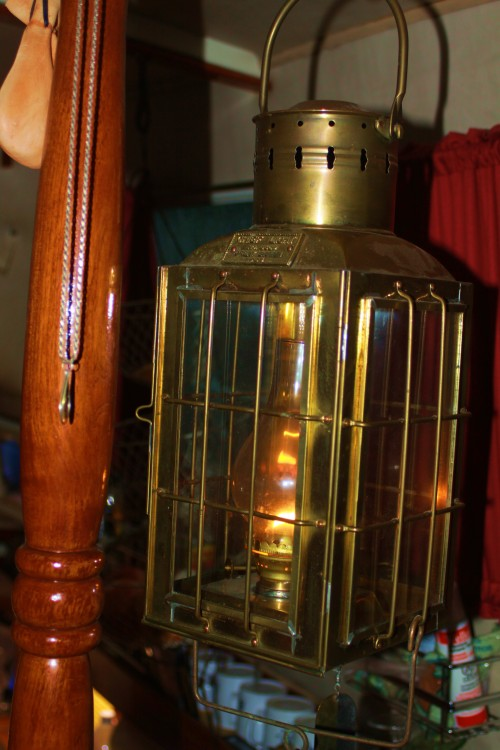Your love is like a lantern in the night. HUH? Clearly, a life alone has its price. This is the beloved oil lamp in the main cabin of 'Seafire.'