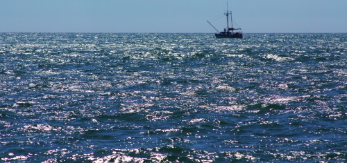 Old School. Now a rare sight, this traditional trawler is eastbound out of Milbanke Sound.