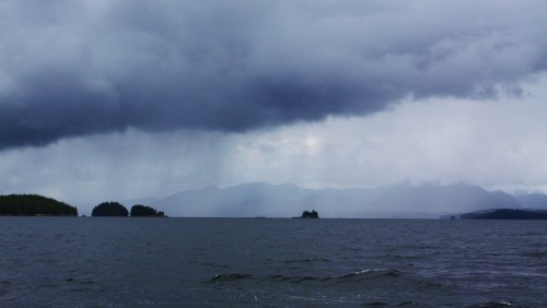 Passing Squall. a view up Spiller Channel. no worries, fish on ,fish on.