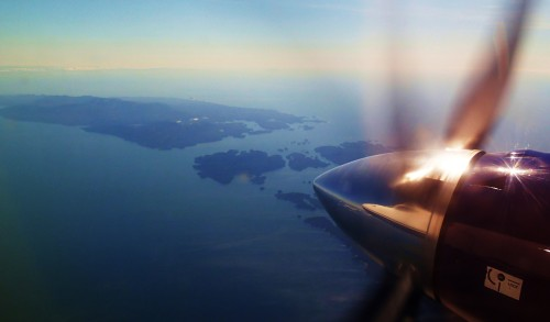 Hakai Pass from 20,000' on a beautiful day. Looking southward out to sea.  Five days of sailng from Campbell river, this Pacific Coastal Beech 1900C had me back there in 50 minutes!