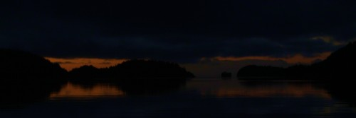 Last light in Monday Anchorage looking west over Queen Charlotte Strait