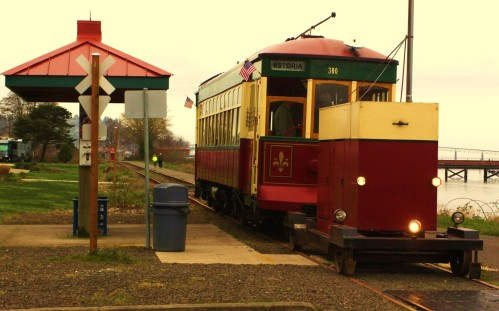 A restored tram car in Astoria