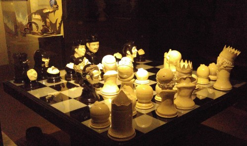 Rooked An amazing chess set in an art gallery window. The board is about five feet square