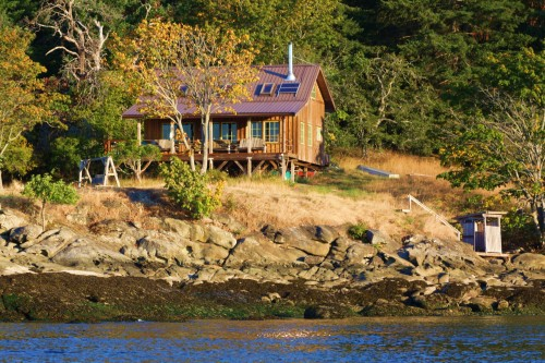 A dream house for the likes of me. It's someone's hideaway cabin on the shores of Porlier Pass