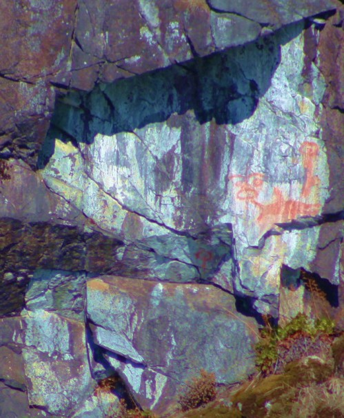 In Thulin Pass, north of Lund BC is a place where log tows are towed to wait out windy weather. I rember this spot where someone painted a tugboat name over same aboriginal pictographs. The black paint is fading and the pictographs live on. YES!