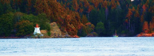 A sweet nook to anchor in out of the tide on the Galiano side of Porlier Pass.