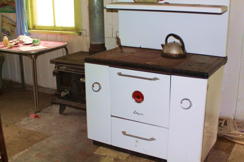 An enterprise cook stove and a Triumph wood heater . It all looked ready to go.