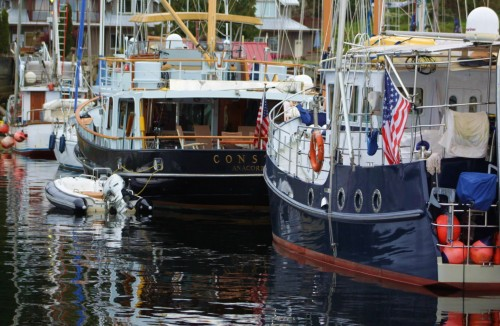 Two serious cruising boats. In September, long-distance boats head south after up to a half-year in Alaska. The blue steel boat is a design called a 'Diesel Duck' my ultimate dream boat.