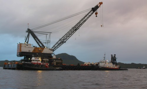And now for something serious! This beast can lift the crack of dawn. Allegedly it is the largest commercial crane barge on the West Coast.