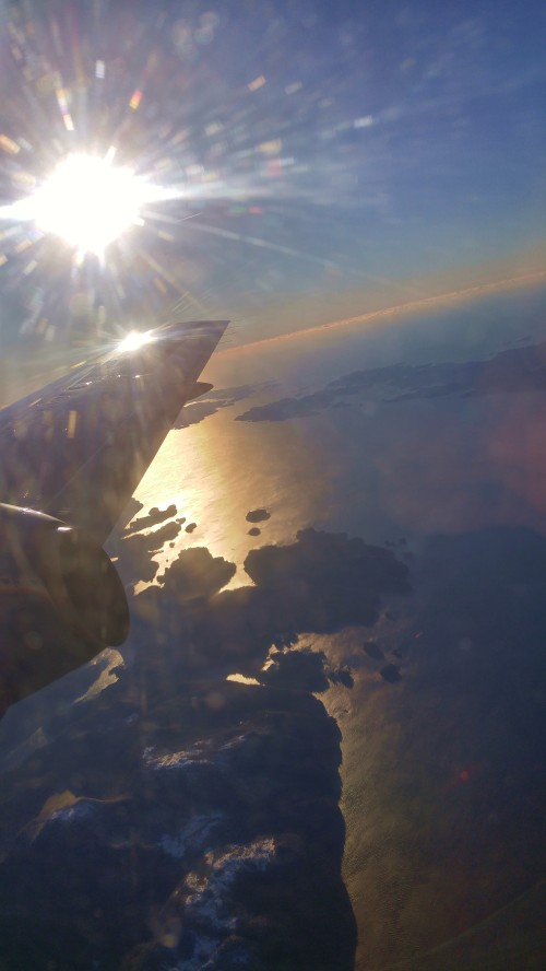 Yet another of my ubiquitous shots of Hakai Pass. Hawaii is somewhere out there beyond the starboard wingtip.
