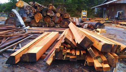 Value added Beautiful clear cedar timbers milled from salvaged wood. It doesn't get better than grass roots commerce.
