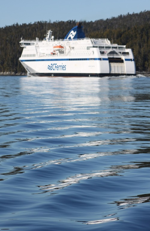 The tin wedding cake. The BC Ferry 'Northern Expedition' in Lama Passage northbound for Prince Rupert.
