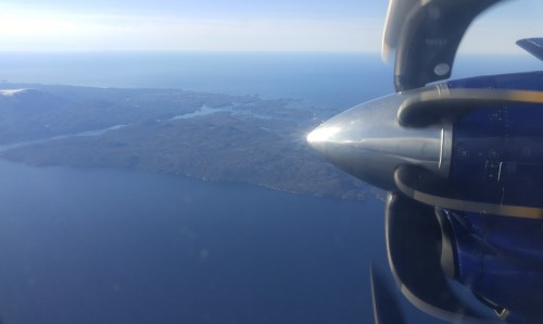 Here we go again! Southbound, looking down on Pruth Bay on the northwest corner of Calvert Island.